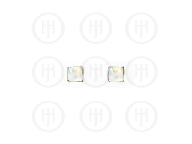 Sterling Silver Stone Stud Earrings Moonstone