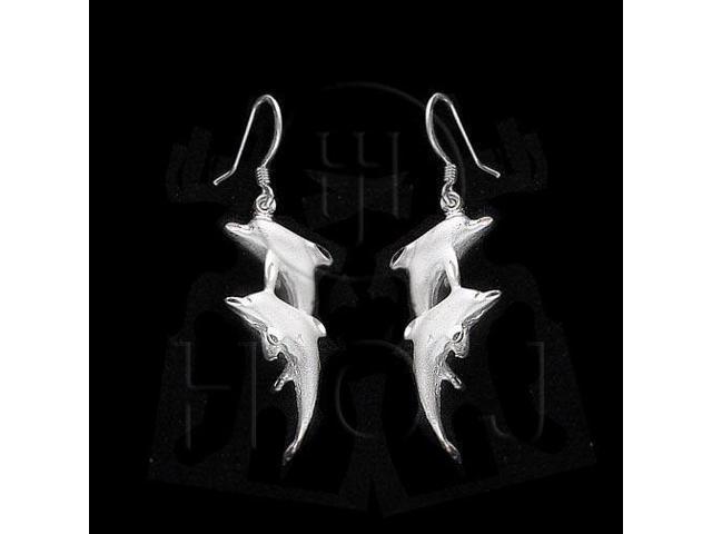 Sterling Silver Dangle Earrings Dolphin