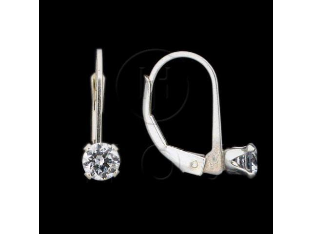 Sterling Silver CZ Earrings Round Leverback 5mm