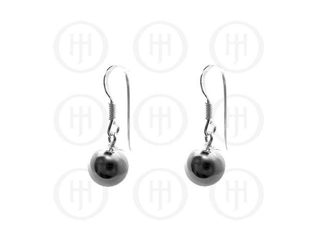 Sterling Silver Dangle Ball Earrings 10mm