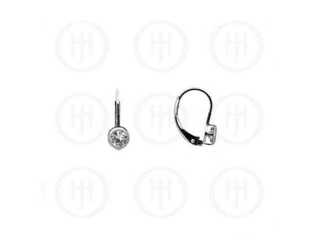 Sterling Silver CZ Leverback Earrings  5mm
