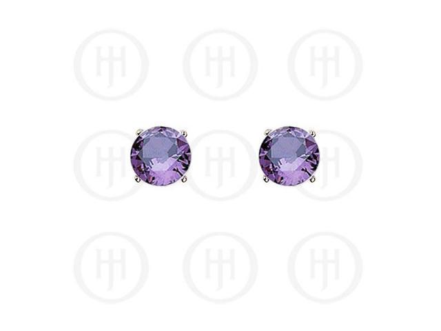 Sterling Silver Round CZ Stud Birthstone Earrings
