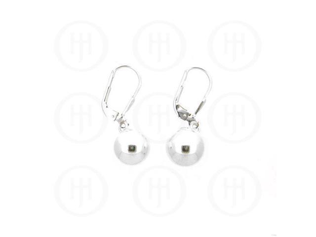 Sterling Silver Leverback Hook Ball Earrings 10mm