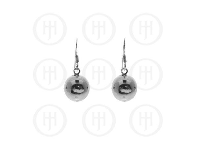 Sterling Silver Dangle Ball Earrings 12mm