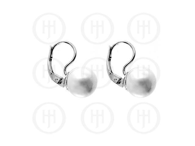 Sterling Silver Leverback Hook Pearl Ball Earrings 12mm