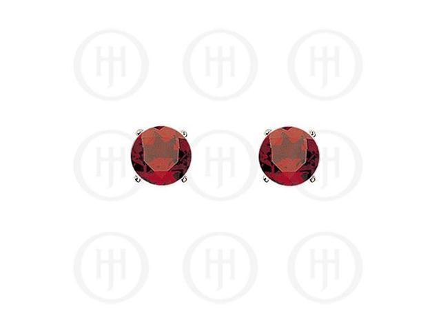 Sterling Silver Round CZ Stud Birthstone Earrings