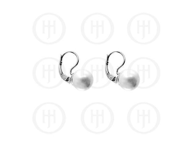 Sterling Silver Leverback Hook Pearl Ball Earrings 8mm