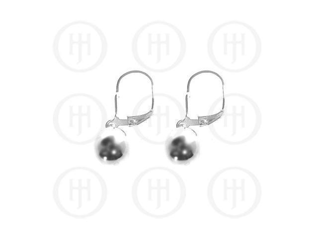 Sterling Silver Leverback Hook Ball Earrings 8mm