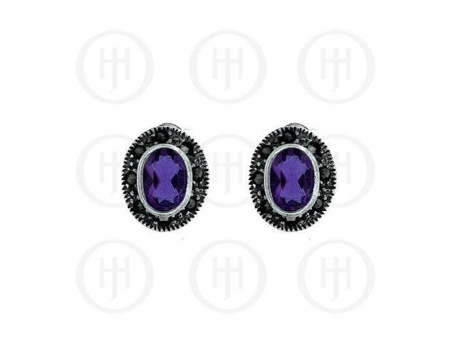 Sterling Silver Marcasite Earrings Amethyst