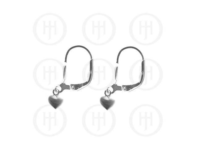 Sterling Silver Leverback Hook Heart Earrings