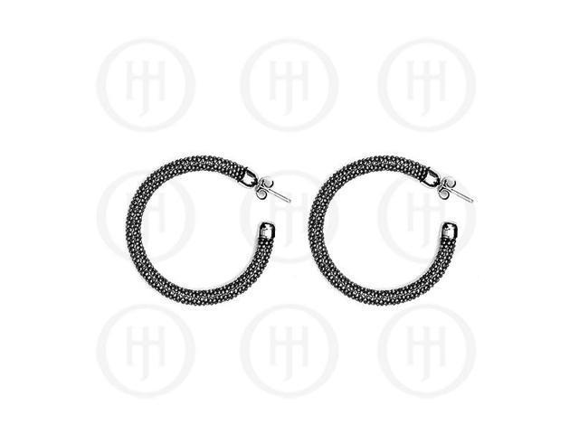 Sterling Silver Fancy Italian Rhodium Plated Tri-Colour Hoop Earrings -  Black
