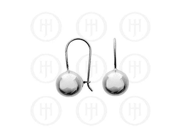 Sterling Silver French Wire Ball Earrings 10mm