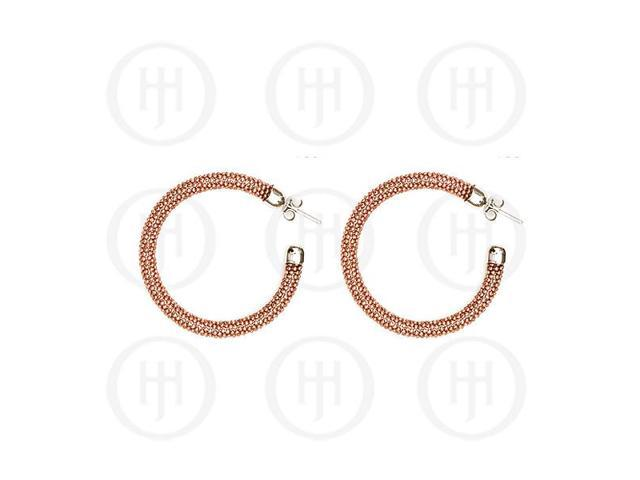 Sterling Silver Fancy Italian Rhodium Plated Tri-Colour Hoop Earrings -  Rose
