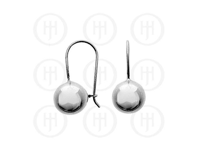 Sterling Silver French Wire Ball Earrings 12mm