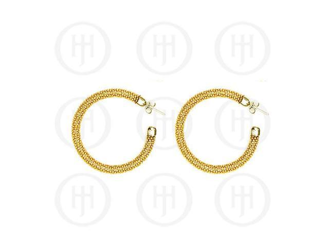 Sterling Silver Fancy Italian Rhodium Plated Tri-Colour Hoop Earrings -  Yellow Gold