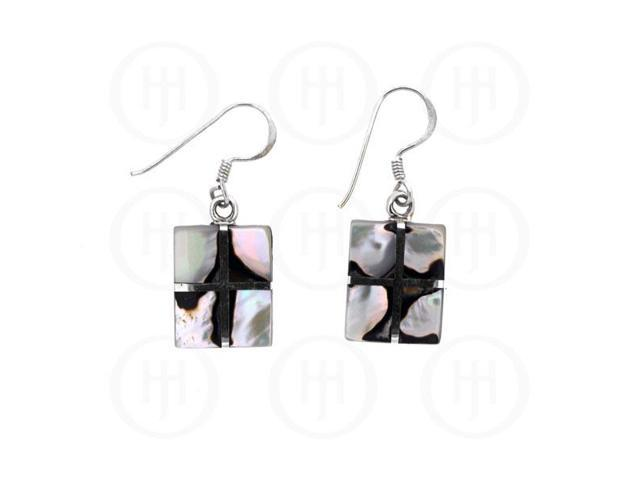 Sterling Silver Stone Earrings African Shell