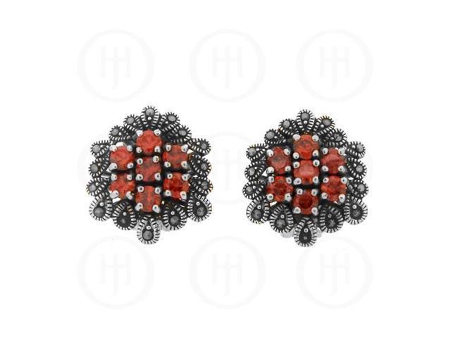Sterling Silver Marcasite Earrings Garnet