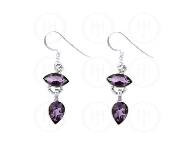 Sterling Silver Stone Earrings Amethyst