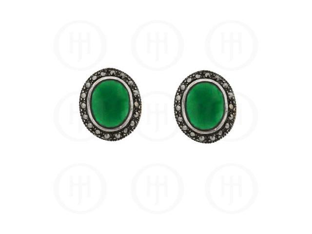 Sterling Silver Marcasite Earrings Green Agate