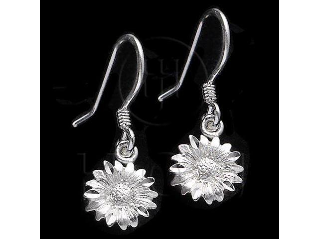 Sterling Silver Dangle Earrings Flower