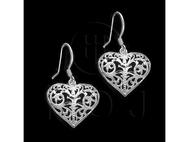 Sterling Silver Dangle Earrings Heart