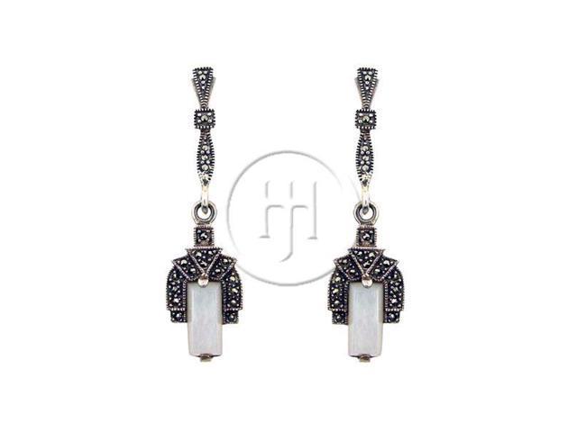 Sterling Silver Marcasite Earrings MOP