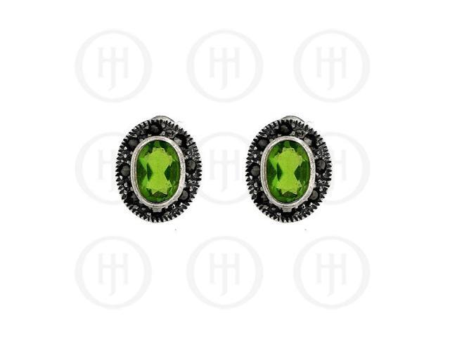 Sterling Silver Marcasite Earrings Peridot