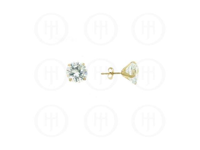 10K Gold Earrings Round CZ Stud 8mm