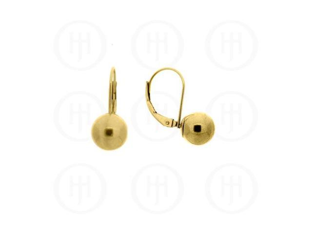 14K Gold Earrings Ball Leverback 7mm