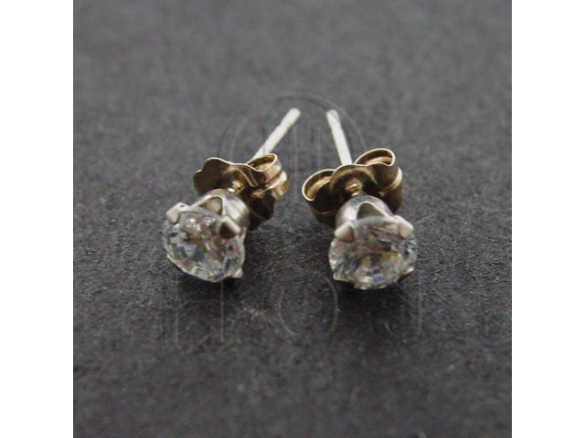 14K White Gold Earrings Round Stud 4mm