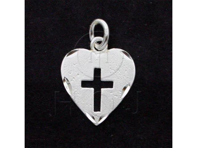 Sterling Silver DiamondCut Religious Charm Heart Cross