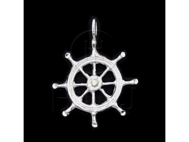 Sterling Silver DiamondCut Nautical Charm Ship Wheel