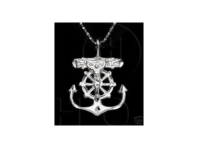 Sterling Silver DiamondCut Religious Charm Anchor Cross