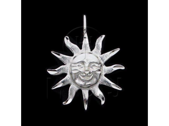 Sterling Silver DiamondCut Nautical Charm Sun Face