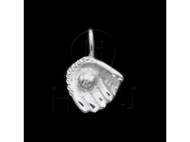 Sterling Silver DiamondCut Sports Charm Baseball