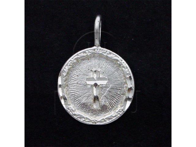 Sterling Silver DiamondCut Religious Charm Round Cross