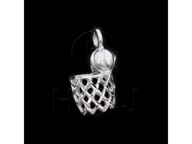 Sterling Silver DiamondCut Sports Charm Basketball
