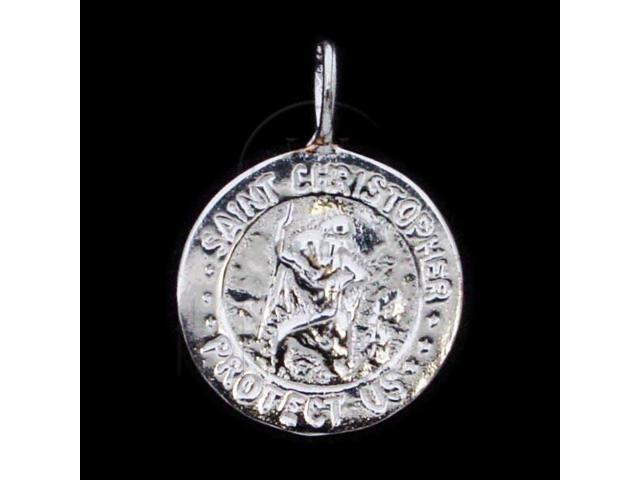 Sterling Silver DiamondCut Religious Charm Saint Christopher