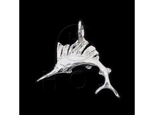 Sterling Silver DiamondCut Nautical Animal Charm Marlin Fish
