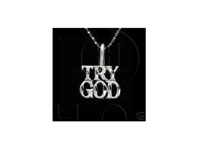 Sterling Silver DiamondCut Religious Charm TRY GOD