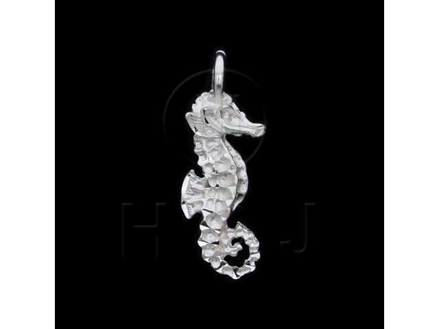 Sterling Silver DiamondCut Nautical Animal Charm Seahorse