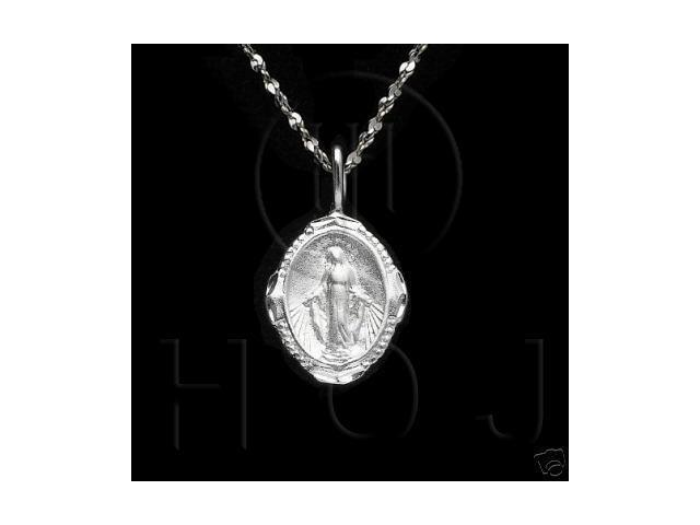 Sterling Silver DiamondCut Religious Charm Virgin Mary