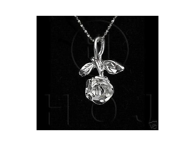 Sterling Silver DiamondCut Flower Charm Rose