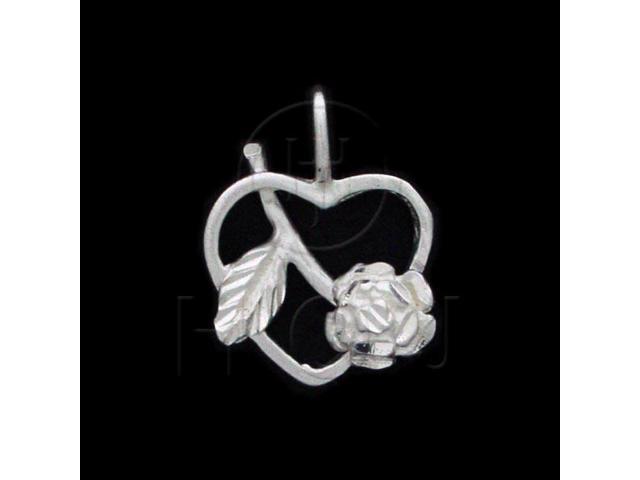 Sterling Silver DiamondCut Flower Heart Charm Rose
