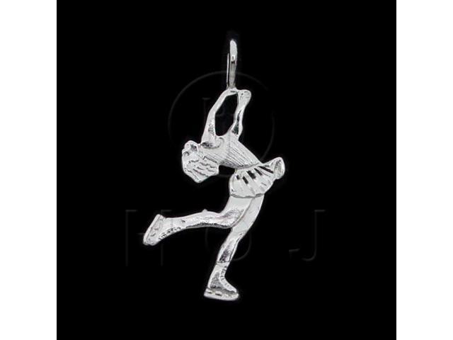 Sterling Silver DiamondCut Sports Charm Ice Skater