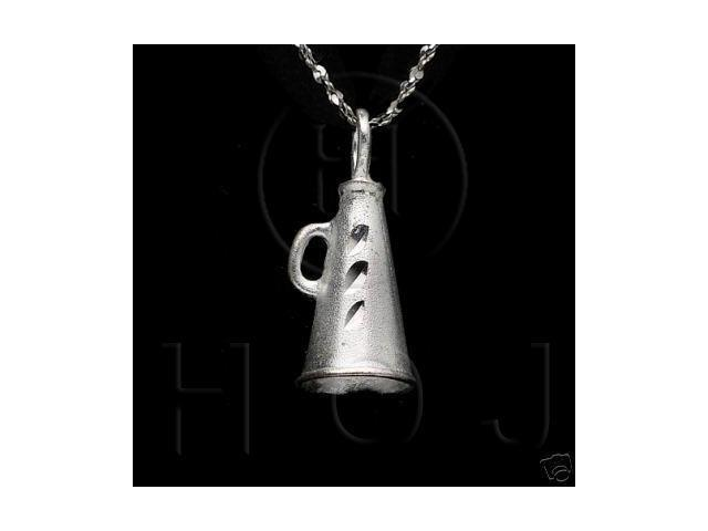 Sterling Silver DiamondCut Sports Charm Megaphone
