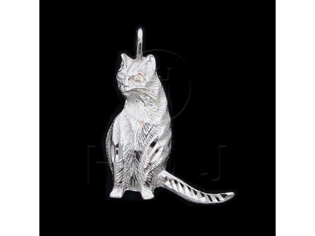 Sterling Silver DiamondCut Animal Charm Cat