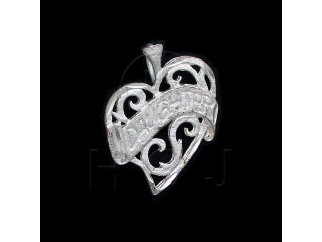 Sterling Silver DiamondCut Heart Talking Charm Daughter
