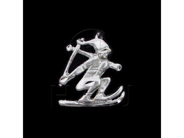 Sterling Silver DiamondCut Sports Charm Skiing