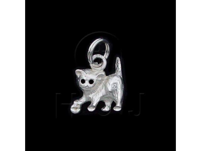 Sterling Silver DiamondCut Animal Charm Cat